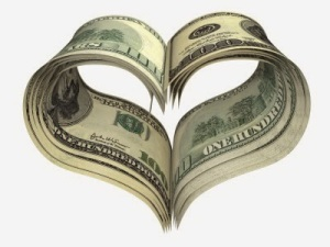 valentine heart shape made by dollars isolated on white
